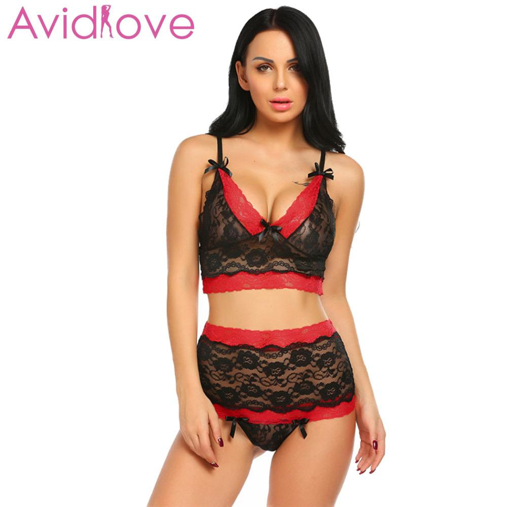 faced203aa Avidlove Sexy Underwear Lingerie Women Underwire Lace Bra And Crotchless  Panties Thong Erotic Hot Sex Costume Exotic ApparelY1883005 Sexy Pajama Sets  Bra ...