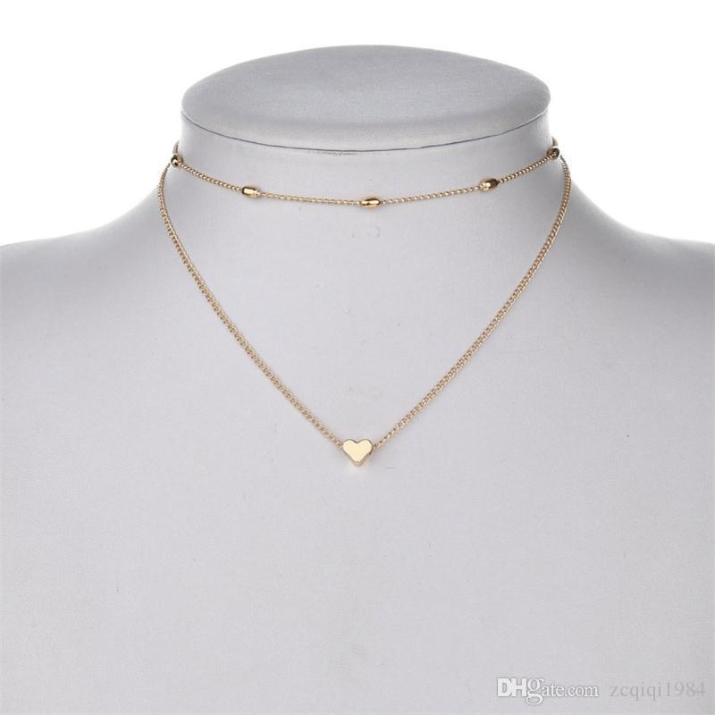 بسيطة الحب القلب المختنق قلادة للنساء متعدد الطبقات الخرز chocker الذهب / الفضة قلادة الحلو ل بيان مجوهرات العشاق