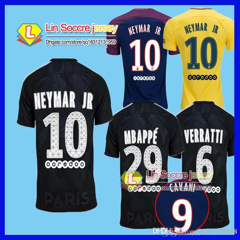 88eab87b5f Compre Top Thai Neymar Jr 2017 2018 Casa Dani Alves Di Maria Camisas De  Futebol 17 18 Maillots Away Amarelo Verratti Cavani Matuidi Camisas De  Futebol De ...