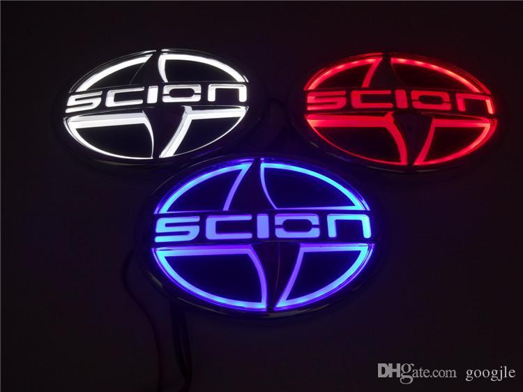 Estilo de automóvil 5D Lámpara de placa automática Logotipo del modelo de coche modificado especial con emblema de luz LED para Scion 12.5 CM * 8.5 CM BLANCO AZUL BLANCO