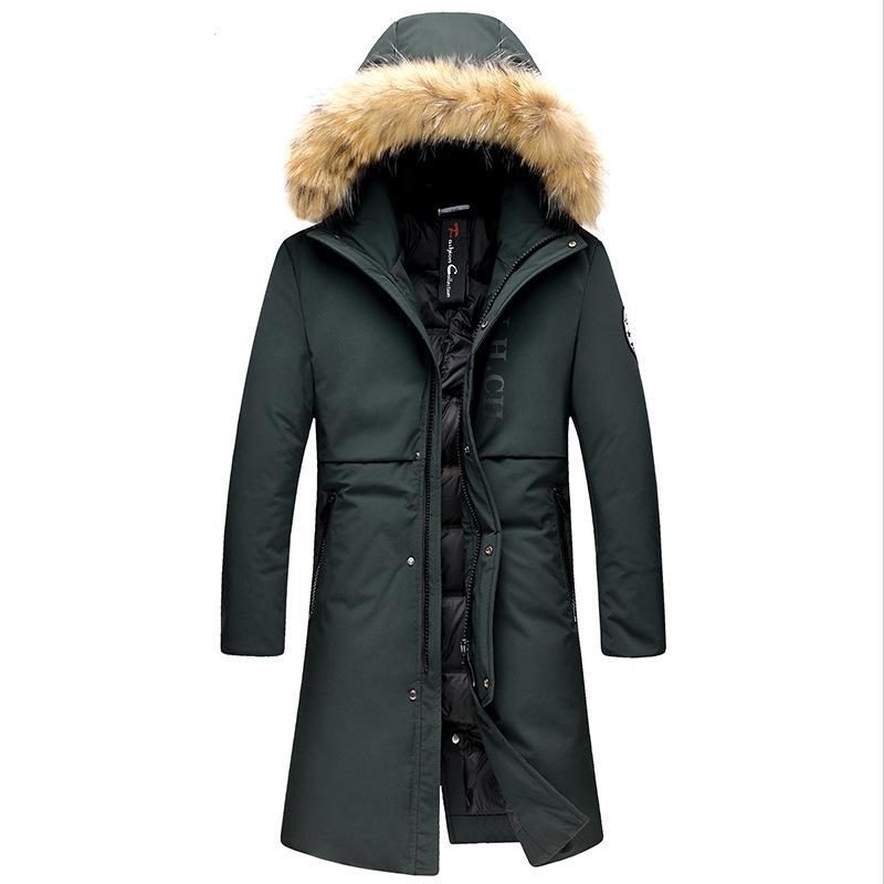 best website a5910 5cf04 Piumino da uomo super-pesante Piumino da anatra bianca al 90% con cappuccio  in pelliccia Giacca invernale lunga Parka caldo