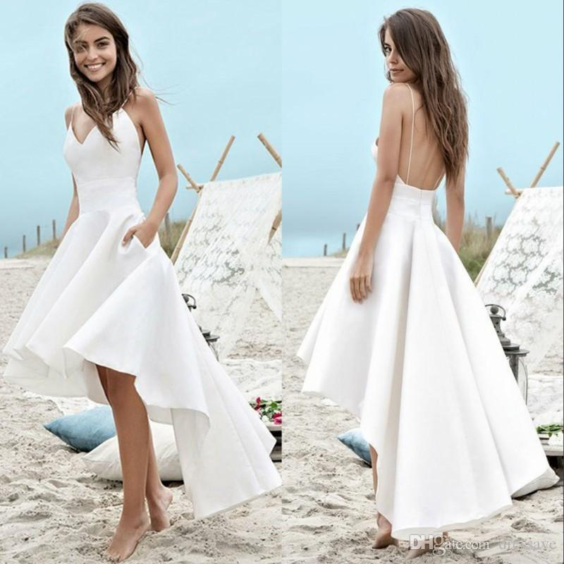 144388aa2c6f Discount Simple Summer Beach Wedding Dresses 2019 A Line Boho Bridal Gowns  High Low Backless Spaghetti Straps Holiday Gowns Uk Wedding Dresses Vintage  ...