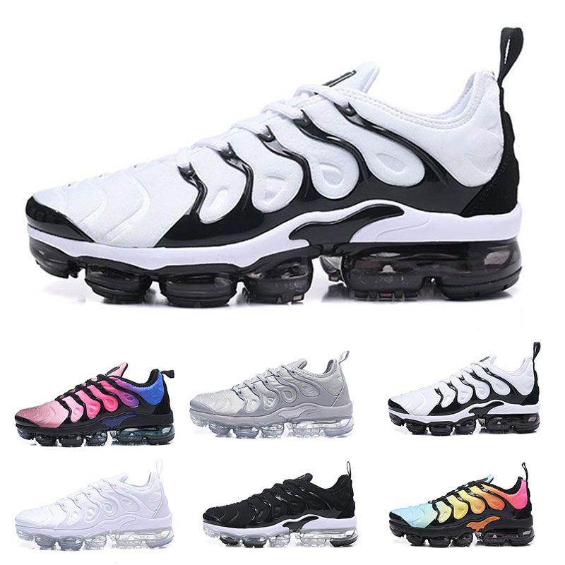27980117852b3 Acheter Nike Air Vapormax TN Livraison Gratuite 2018 Date Vapormax Plus  Mens Femmes Chaussures Triple Noir Blanc Métallique Silver Colorways Pack  Pour ...