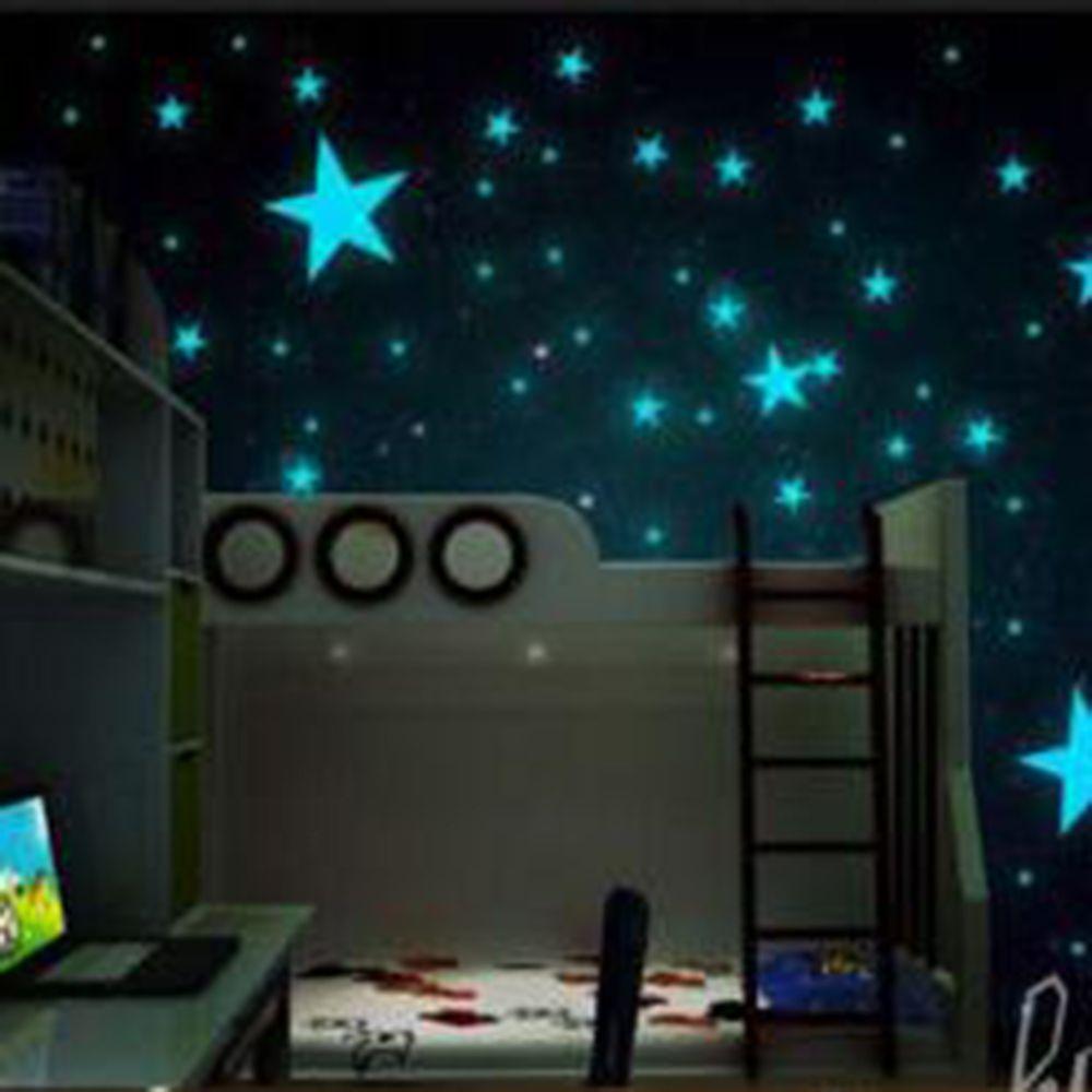 LESUPERAY 100 ADET Renkli Işık Ev Glow Karanlık Yıldız Duvar Sticker Çıkartması Çocuk Bebek Odaları için Floresan Sticker dekor