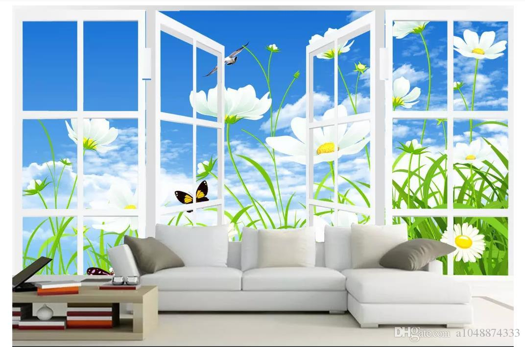 wholesale customized photo wall mural wallpaper window flowers bluewholesale customized photo wall mural wallpaper window flowers blue sky tv background wallpaper for walls 3d wall paper home decor wallpaper border