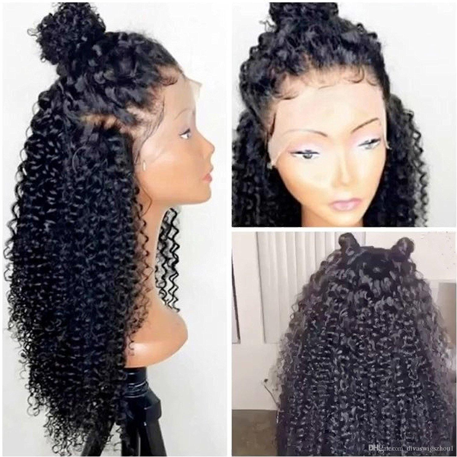 360 Lace Frontal Wig Kinky Curly 180% Density Full Natural 360 Lace Wig  High Ponytail Lace Front Human Hair Wig For Black Women Lace Wig Glue Wigs  For Men ... bc7f1c95d0
