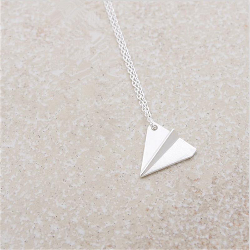 2018 en son eleman Altın Gümüş geometrik kolye kolye Origami Uçak Kolye kadınlar için kaplama kolye hediye