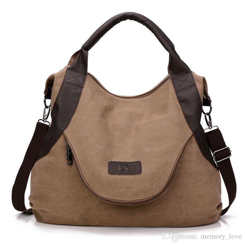 957ccd36e 2018 Hot Fashion Women Canvas Bag Female Casual Crossbody Handbags Ladies Canvas  Handbag Shoulder Large Capability Messenger Composite Bag Fashion Bags ...
