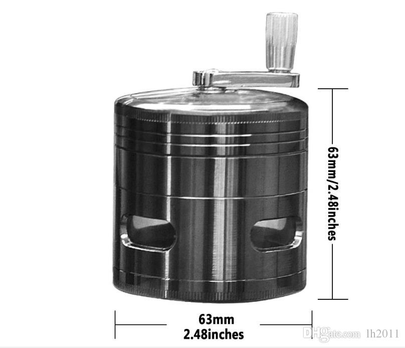 New 63mm4 level hand made zinc alloy fenestration smoke mill four layer zinc cigarette cutter cigarette grinding box