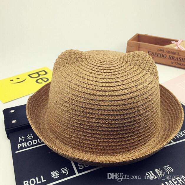 In Stock!!! Fashion Girls Boys Straw Hats Summer Baby Sun Hat Lovely Children Solid Floppy Cat Ears Decor Crochet Caps