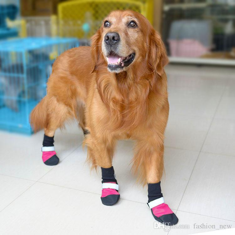 4 قطعة / المجموعة أكسفورد للماء كبير الكلب الأحذية ل الذهبي المسترد الجلود مكافحة زلة عاكس كلب المطر أحذية xs / s / m / l / xl
