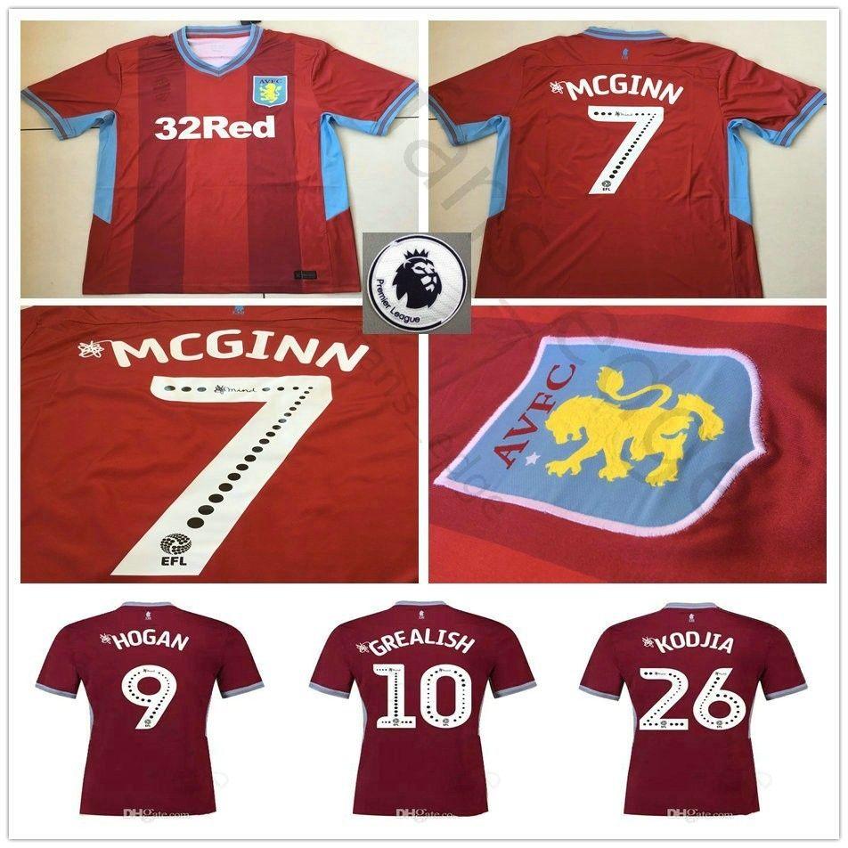 Compre 2018 2019 Aston Villa Camisa De Futebol 9 HOGAN 10 GREGISH MCGINN  DAVIS KODJIA LANSBURY TERRY TUANZEBE Camisa Feita Sob Encomenda Do Futebol  ... b2b2c5f65a774
