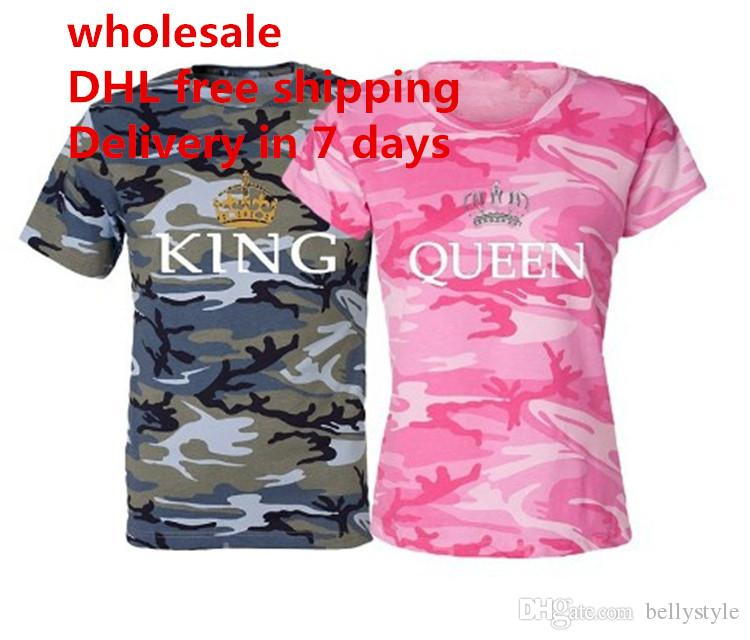 bdd9cd1dea09 Summer King Queen Camouflage Printed Couple T-shirts Short Sleeve Men Women  Slim Tops Tees T-shirt Tops Plus Size S-5XL Valentine's Day DHL