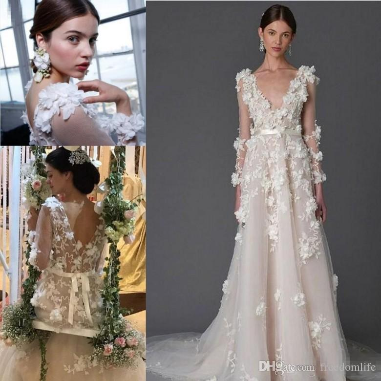 86799d858ebe 2017 Modest Marchesa Lace Bohemian Beach Wedding Dresses 3D Foral Appliques  Dubai Arabic Handmade Flower Country Bridal Gowns Long Sleeve Cheap Wedding  ...