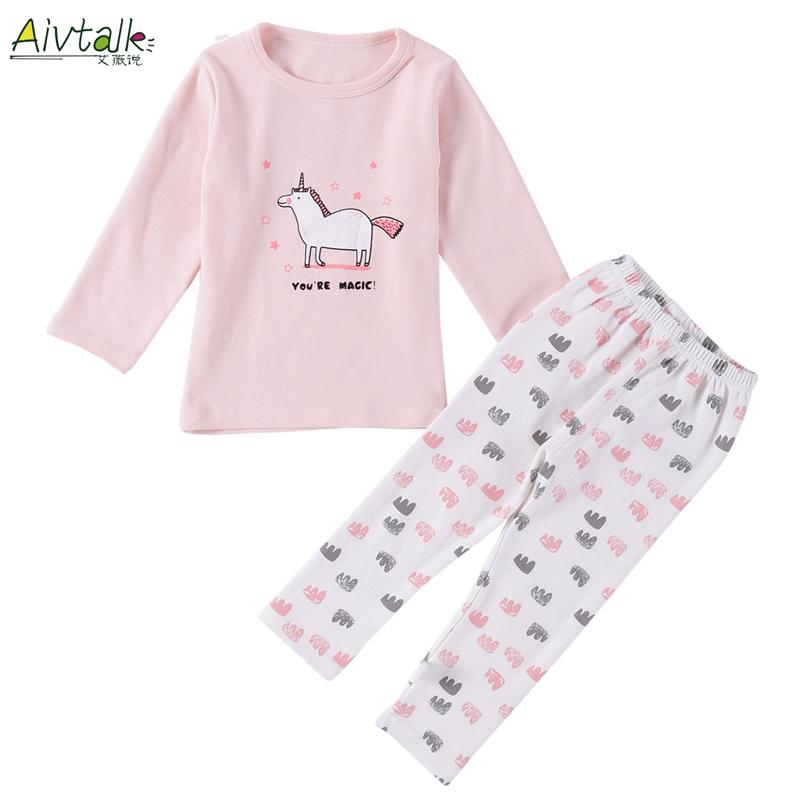 Aivtalk Baby Girls Unicorn Printed Pajamas Kids Clothes Children Cotton T  Shirt Pants Sets 2 5Y Toddler Girl Sleepwear Home Wear Cotton Flannel  Pajamas For ... 4efbe6f82