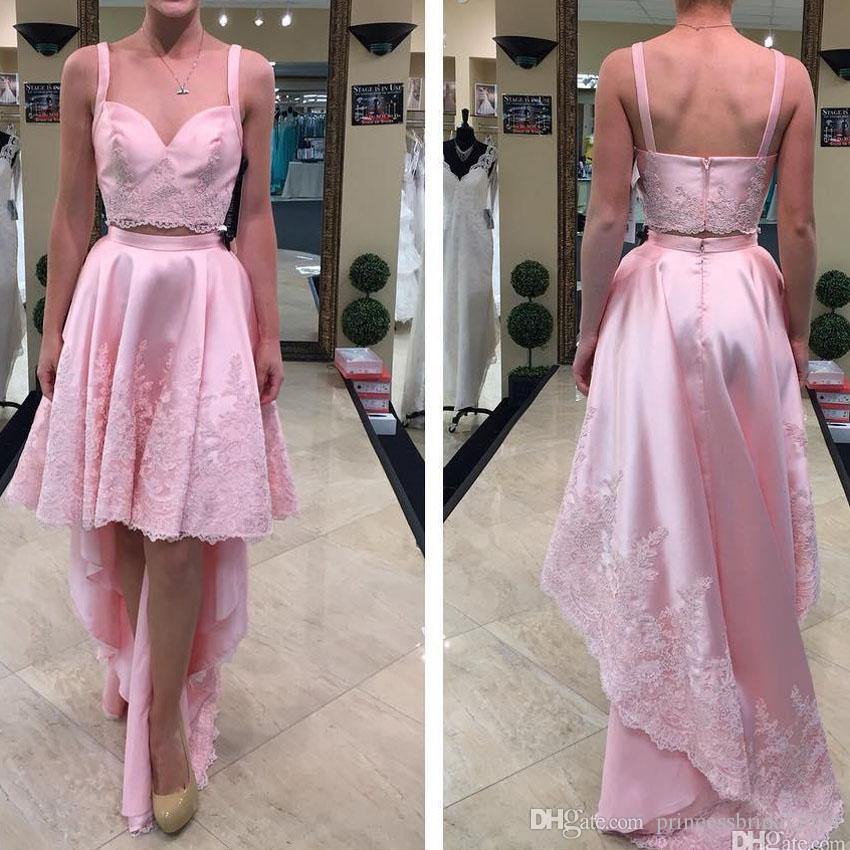 187a8c7a443 ZYLLGF Pink Two Pieces Prom Dresses 2019 Asymmetrical Spaghetti Straps High  Low Lace Appliqued Evening Gowns Homecoming Graduation Dress Greek Style  Prom ...