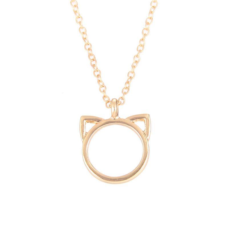 높은 품질도 Dogeared 로고 패션 쥬얼리 Purrfection 고양이 귀 합금 펜던트 짧은 목걸이 여성 어머니의 날 선물 도매