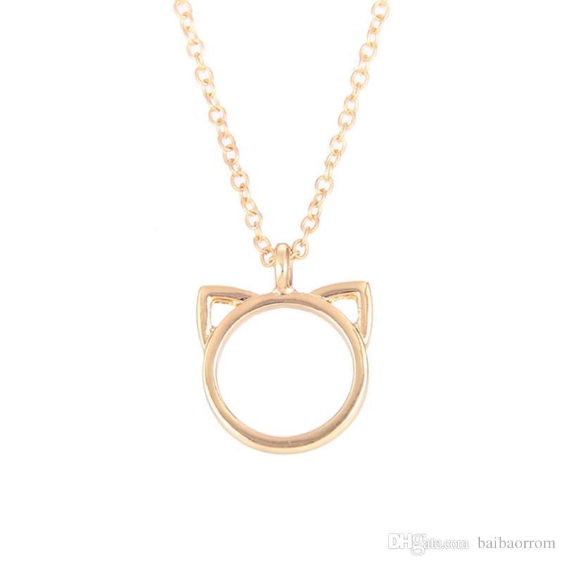 Haute Qualité NO Dogeared LOGO Mode Bijoux Purrfection chat oreille alliage pendentif collier court Femmes Fête des Mères Cadeau En Gros