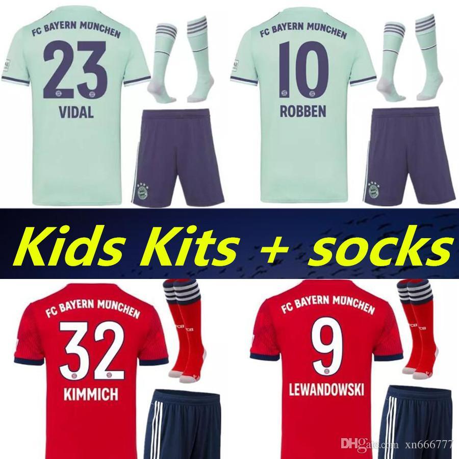 f3e844dd7 2019 2019 Kids Kit + Socks Bayern VIDAL ROBBEN Soccer Jersey 18 19 FC Bayern  Munich Home Away Soccer Jerseys MULLER JAMES Child Shirts Uniform From  Xn666777 ...
