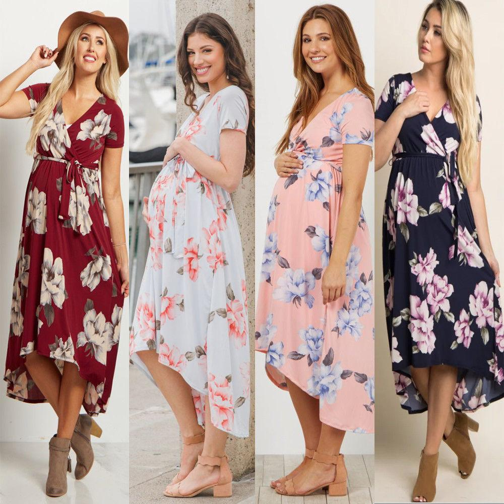 6240e55ec Compre Las Mujeres Embarazadas De La Manera Vestidos Maxi Largos Maternity  Gown Photography Photo Shoot Clothes A  24.84 Del Laurul