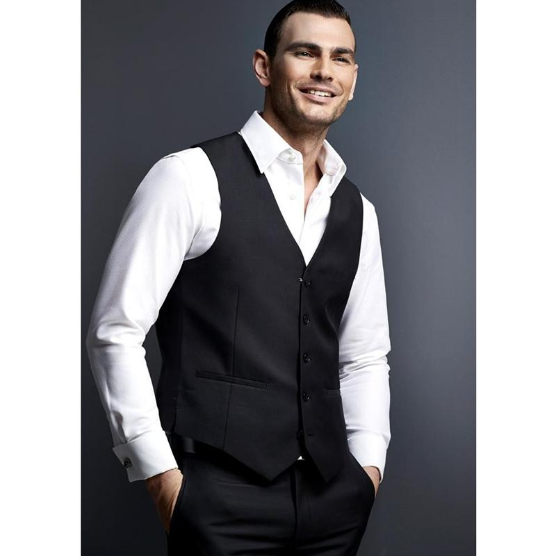 Modest Handsome Black Casual Mens Vest Business Mens Vest Groomsman Formal Occasion Wedding/Prom/Dinner Waistcoat