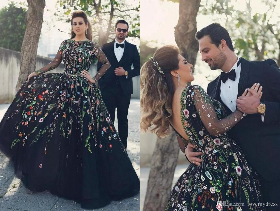 f823fd791237 Stunning Black With Embroidery Flowers Evening Prom Dress Ball Gowns Long  Sleeves V Backless Tulle Cheap Formal Quinceanera Dress Plus Size Dresses  Maxi ...