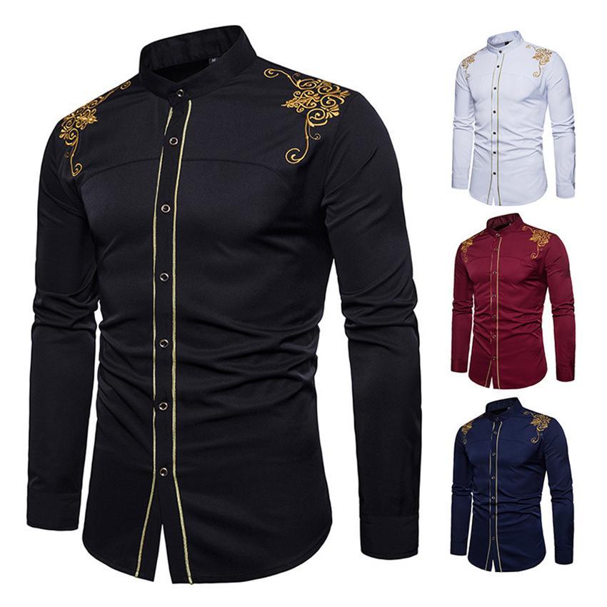 Compre Camisa De Los Hombres Para Los Vestidos Africanos Moda Hombres 2018  Ropa Bazin De Manga Larga Bordado Otoño Vestido Tradicional De África A   28.89 ... fb2db6c55d0