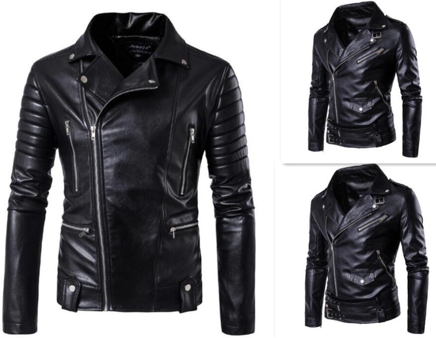 Hot 2017 Men S Autumn Winter Brand Rock Leather Jacket Motorcycle