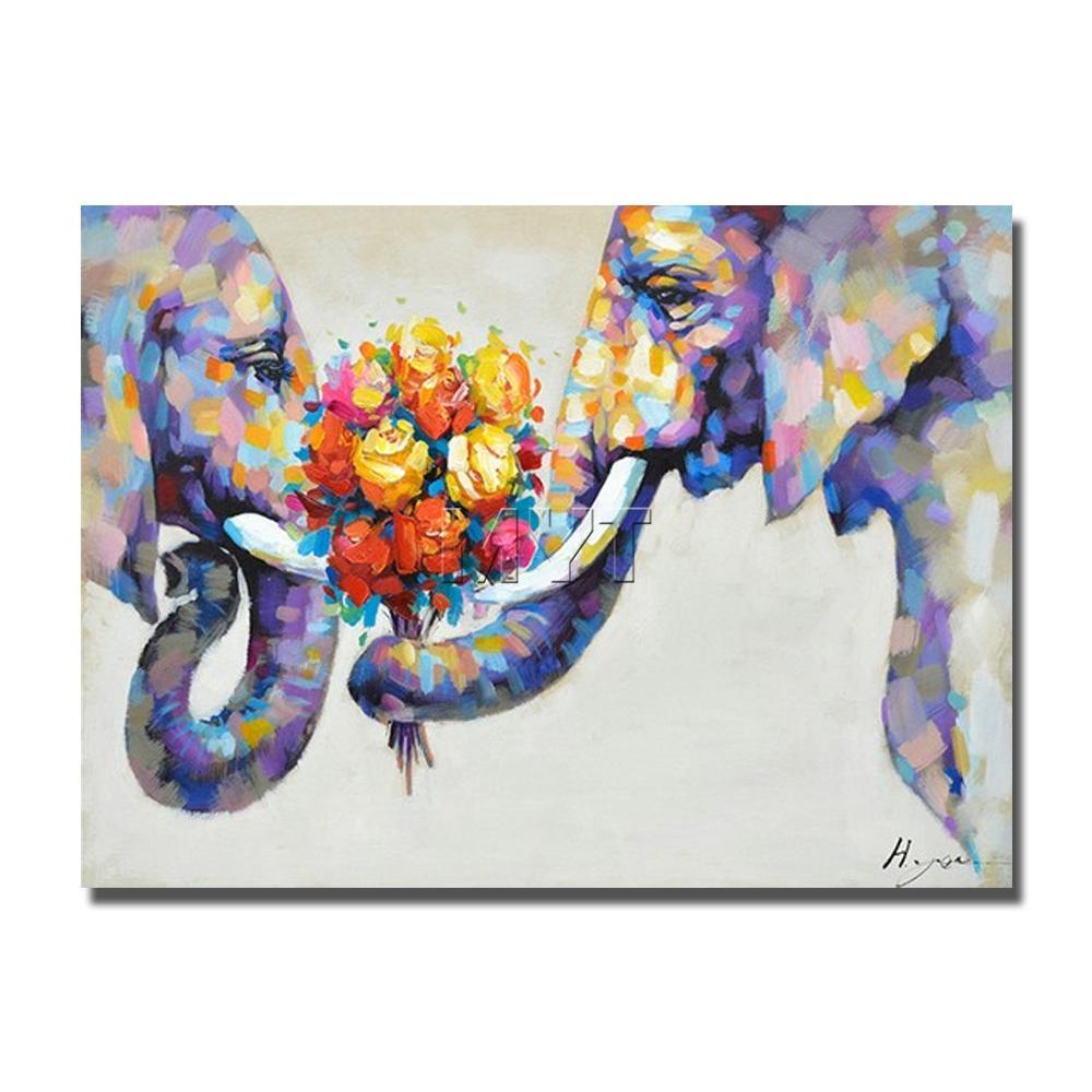 Großhandel Zwei Elefant Mit Dem Blumen Ölgemälde Auf Segeltuch Wand ...