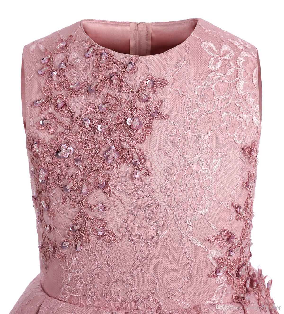 2018 Short Blush Girls Pageant Dresses Jewel Neck Tiered Appliques Beaded Sequins Mini Flower Girl Birthday Party First Communion Gowns