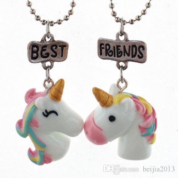 Meilleurs amis pendentif colliers enfants mignons bijoux BFF collier de licorne Simulation résine / émail Cartoon Colliers série animale-2