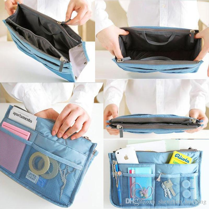 Bag in Bag Dual Insert Multi-function Handbag Makeup Pocket Organizer Purse multi color in stock
