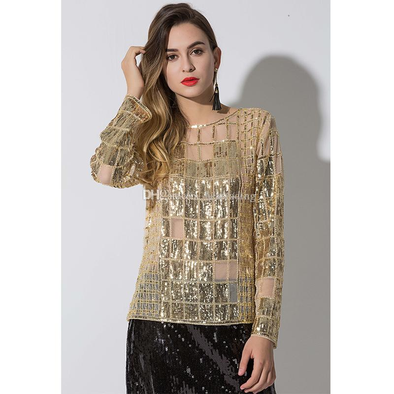 a204e30a85bc05 2019 Gold Top Ladies Sequin Tops Blouses For Evening Wear From Heatrading