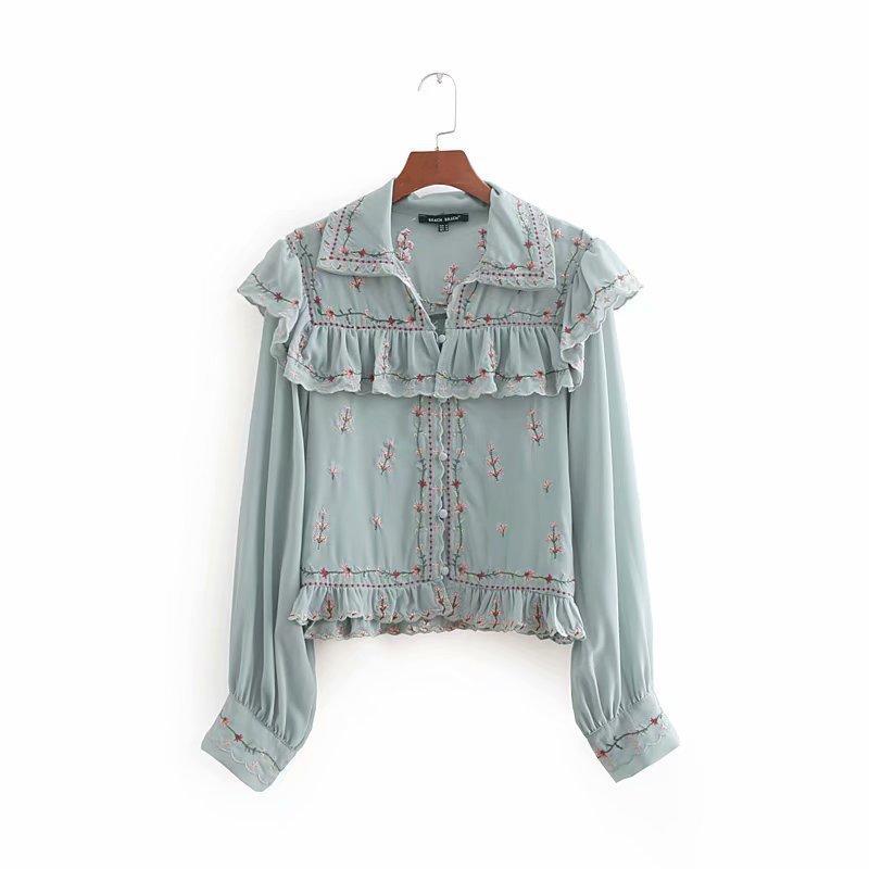 7beb6ecd5543c1 2019 Women Clothing Chiffon Blouse Turn Down Collar Long Sleeve Flower  Embroidery Design Lady Shirt Women Casual Spring Fall Clothing Shirt From  ...