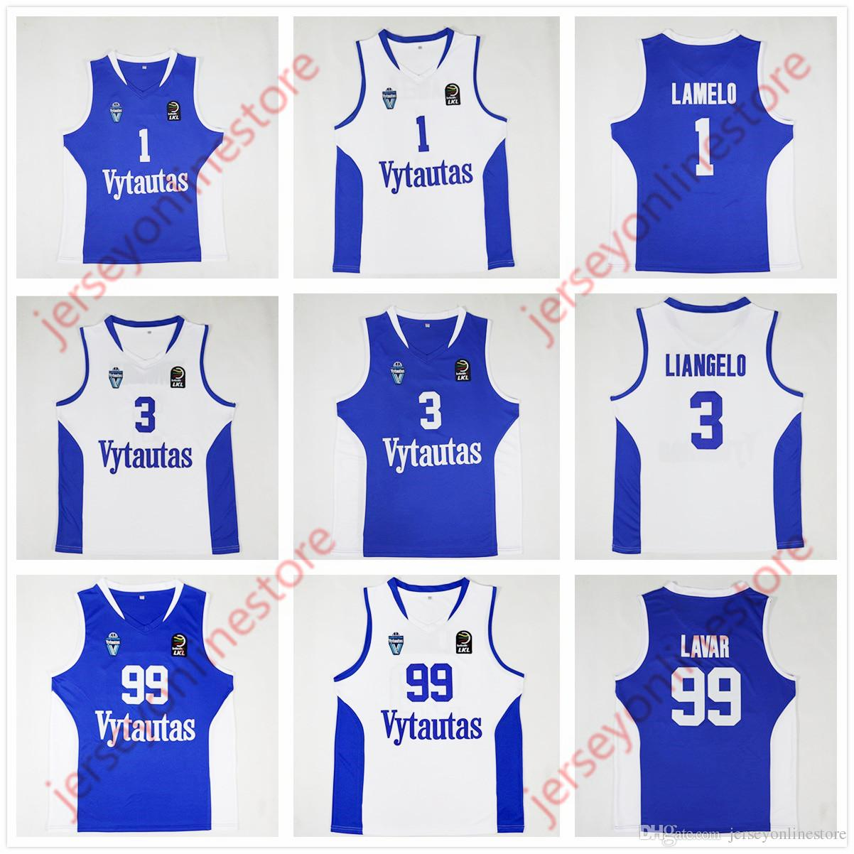e9259dfbde76 2019 Cheap Mens Lithuania Prienu Vytautas 3  LiAngelo Ball Jersey Blue  White Stitched 1  LaMelo Ball 99  LaVar Ball Basketball Jerseys Embroidery  From ...