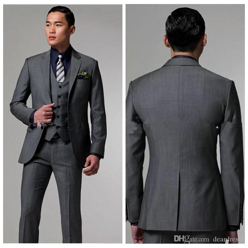 f1c6521b859c 2019 Top Sale Two Buttons Dark gray Groom Tuxedos With Notched Lapel Best  Man Suits Groomsmen Men Wedding Suits (Jacket+Pants+Vest)