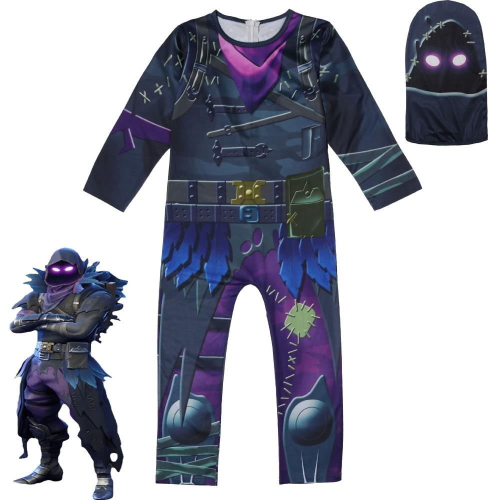 unisex cosplay game fortnite raven halloween costume for kids party christmas carnival children jumpsuits rompers sets six person halloween costumes team - fortnite carnival 2019