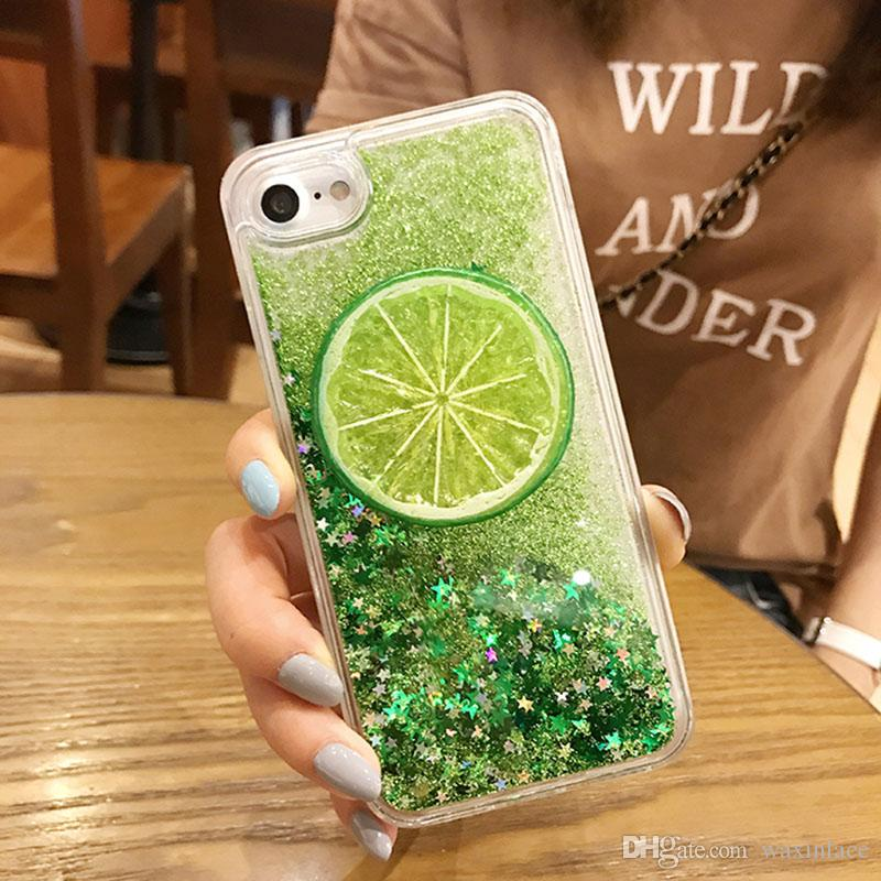 Fashion Fresh 3D Lemon Bling Glitter Phone Cases For iPhone 7 6 6S Plus Clear Dynamic Liquid Quicksand Cover For iPhone6 8 Coque