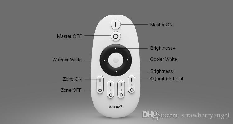 FUT007 Milight 2.4G RF 4-Zone Remote Controller Dimmer For CW/WW Dual White Brightness Adjust & Color Temperature Dimmable Bulb