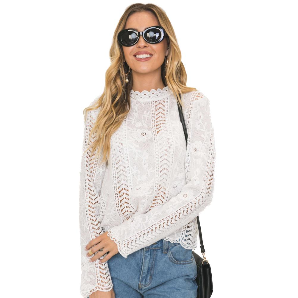 ce35fc046 2019 Sexy White Lace Blouse Shirt Women Elegant Crochet Lace Tops Hollow  Out Blouses Summer Tops Female Blouse Long Sleeve Blusas From Feeling07, ...