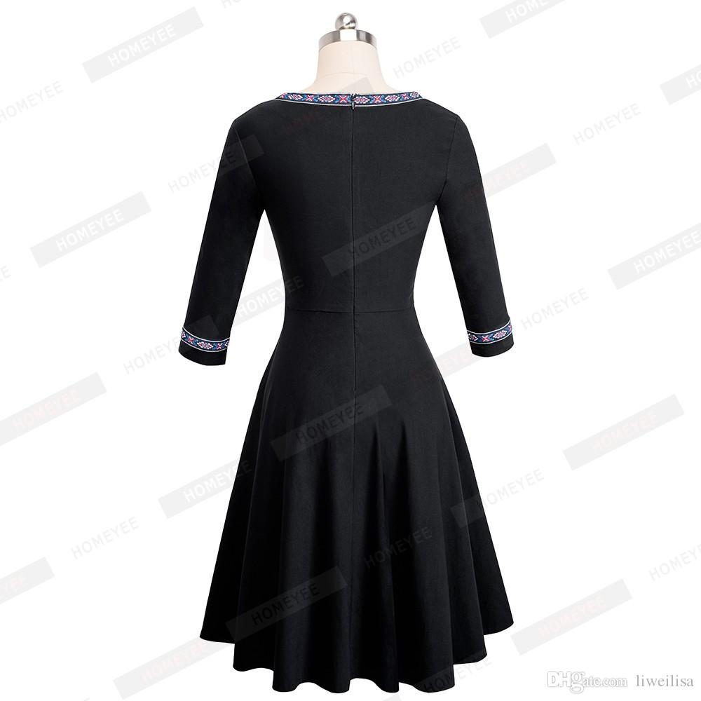 Vintage Floral Appliques Embroidery Women Elegant Casual Work Party Fit and Flare A-line Tunic Skater Dress