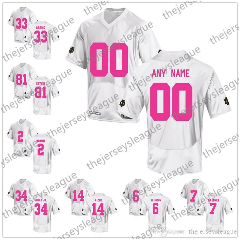 Custom Notre Dame Fighting Irish 2018 Mother Days Pink White Stitched Any  Name Number Montana Adams NCAA College Football Jerseys S-3XL Notre Dame  Mother ... 6e06f7ae7