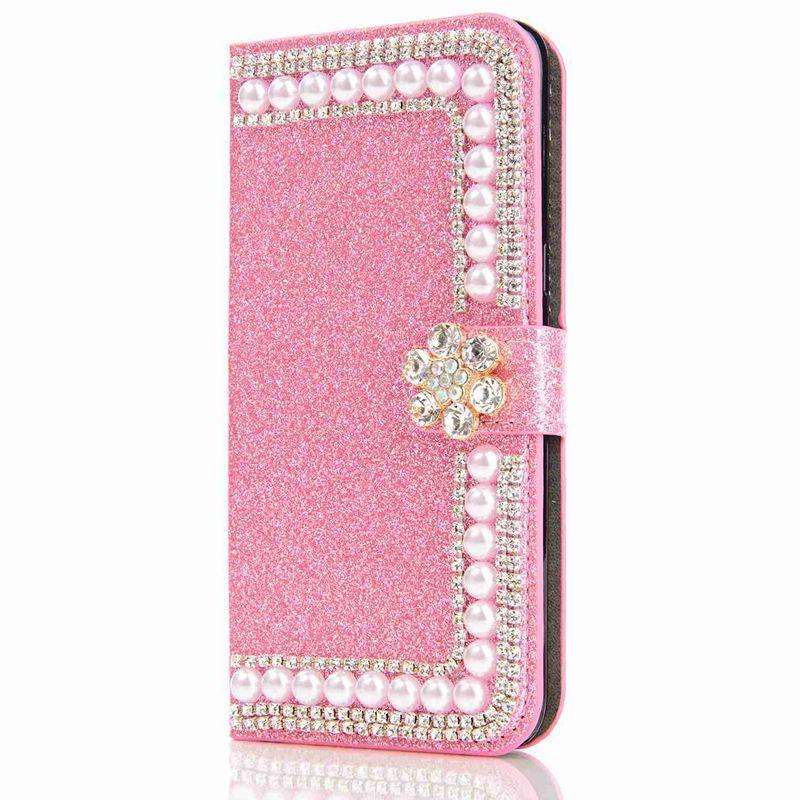 Case For Huawei P8 Lite2017 P9 Lite2017 P8 Lite P9 Lite P8 Glitter Shine Rhinestone Pearl Card Holder Wallet Full Body
