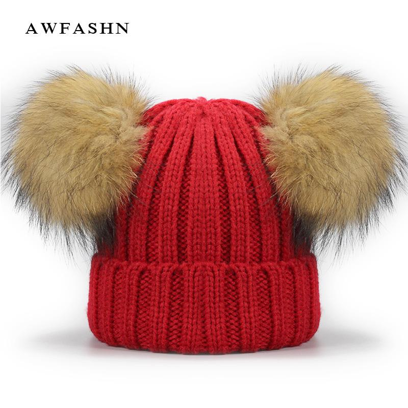 2019 New Two Raccoon Fur Pom Poms Knit Beanie Hat Solid Color High Quality Winter  Hat Boy Girl Thicken Hedging Cap Warm Baby Kids From Qingteawater c34294b5460