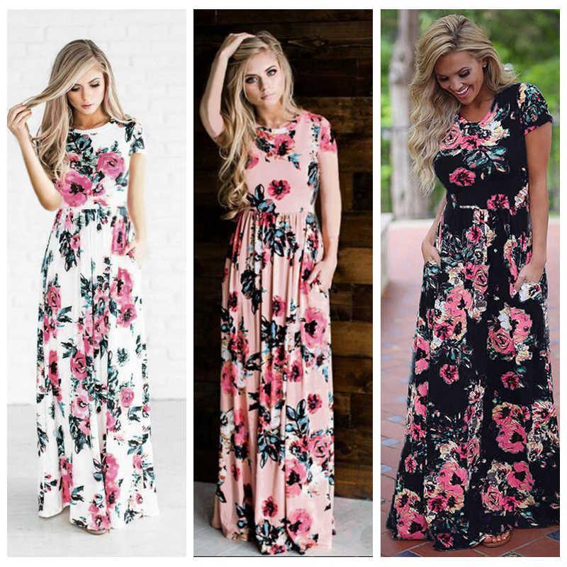 0107b209dc Women Floral Print Short Sleeve Boho Dress Evening Gown Party Long Maxi  Dress Summer Sundress Evening Party Dress Black Sundresses From  Wonderfulwatch