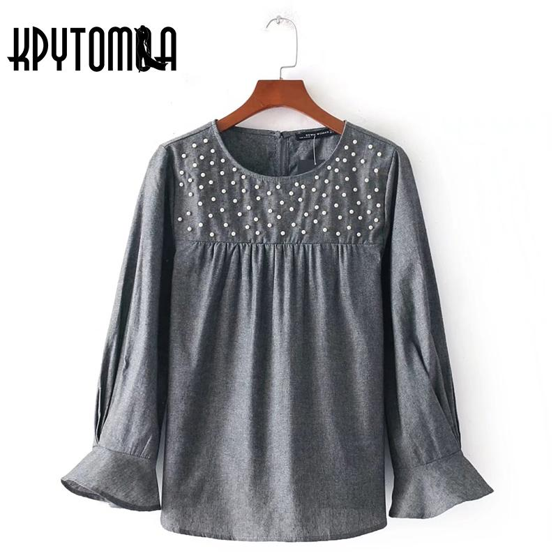 6da5cf0541dd0 Vintage Chic Pearl Bead Pleated Ruffles Blouse Shirt Women 2018 New Fashion  O Neck Long Sleeve Lady Blouses Casual Blusas Mujer