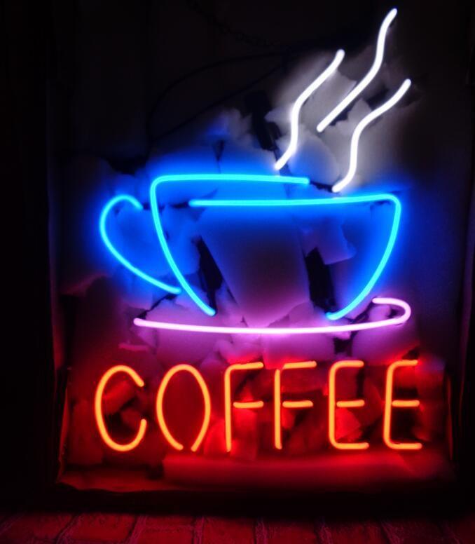Compre Café Letrero De Neón Tubo De Vidrio Real Tienda De Bar ...
