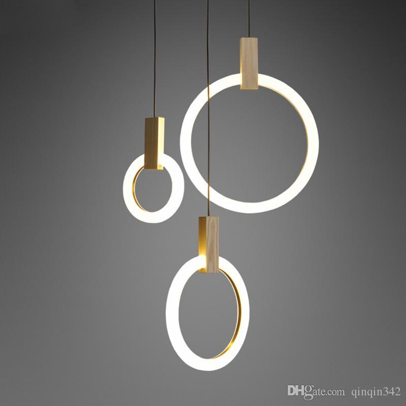 Bois Villa Luminaires Suspendu Led Luminaire Cercles Acryliques Suspendue Suspendus Lustre Stairs Lampe En PX80wkNnO