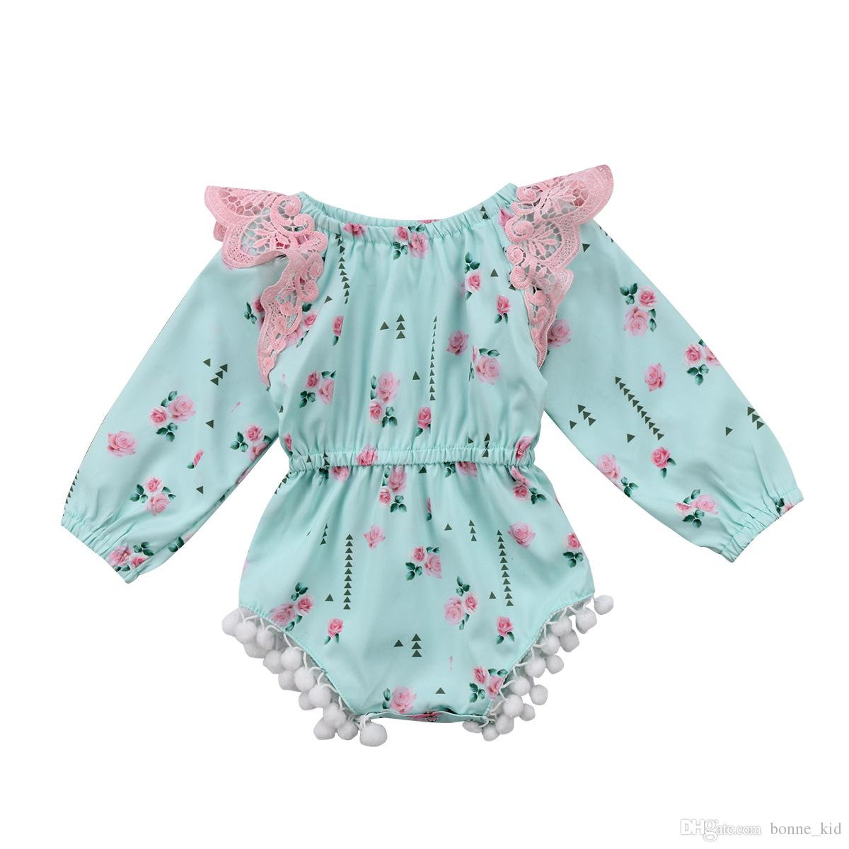 0ffe8c2cba3b 2019 Baby Girl Retro Floral Green Romper Onesies Lace Flower Ruffle Jumpsuit  Outfit Long Sleeves Kid Girls Clothing Roupas Bodysuit Sunsuit 0 24M From  ...