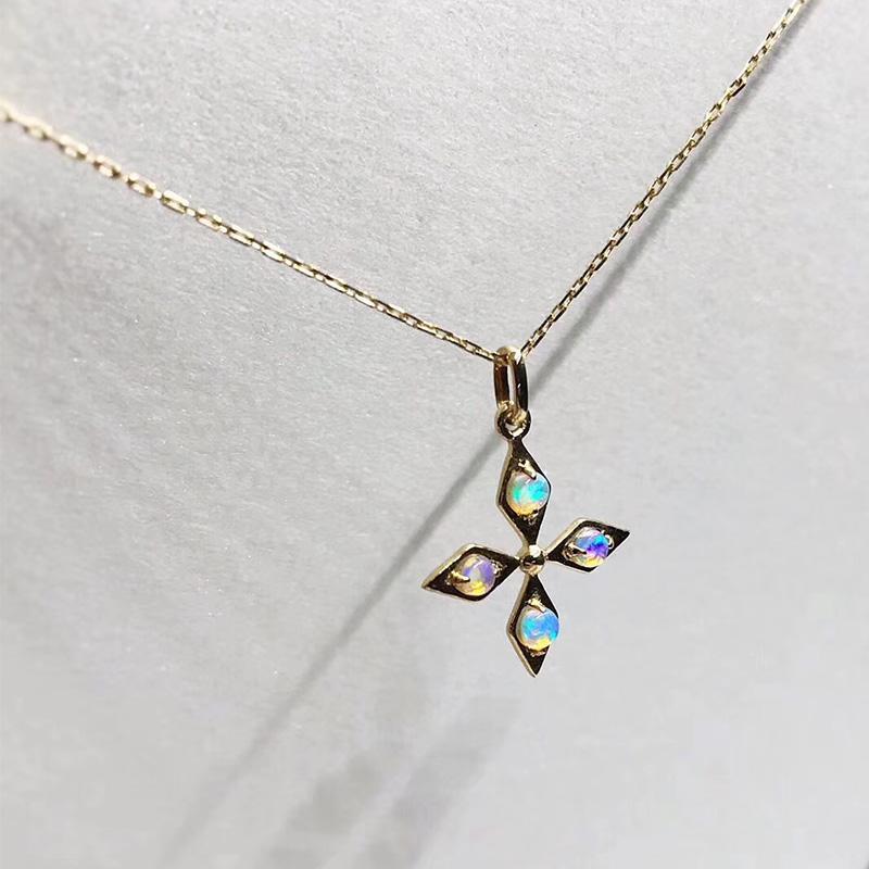 6445a00f78563 Compre ANI 18 K Ouro Amarelo AU750 Casamento Pingente De Colar De Opala  Natural Certificado De Diamante Natural Mulheres Colar De Corrente Para O  ...